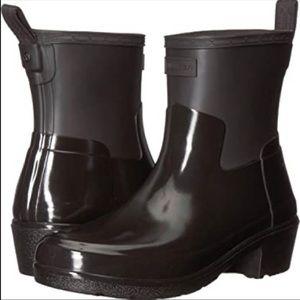 Hunter ankle boots black low heel biker gloss